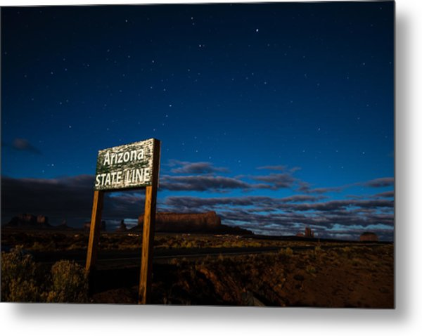 Arizona State Line In Monument Valley At Night Metal Print