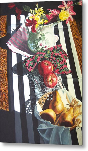 art for sale still life oil painting print Stripes and Fruit Forever  Metal Print by Diane Jorstad