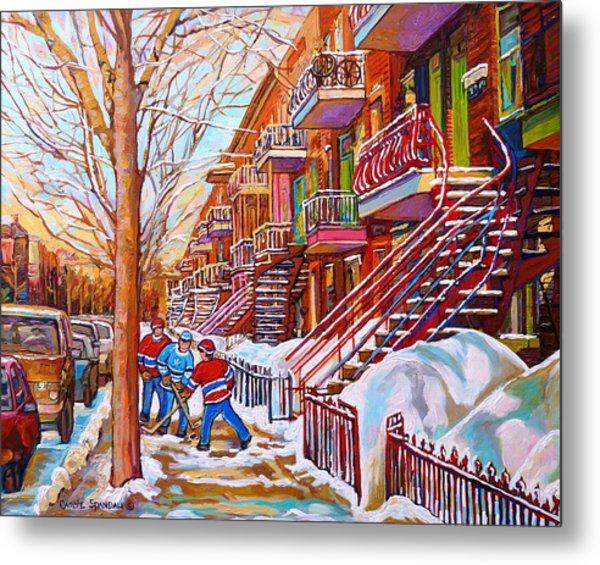 Art Of Montreal Staircases In Winter Street Hockey Game City Streetscenes By Carole Spandau Metal Print