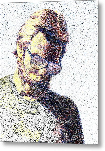 Art Pointillism Male Portrait  Metal Print