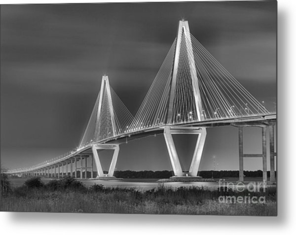 Arthur Ravenel Jr. Bridge In Black And White Metal Print
