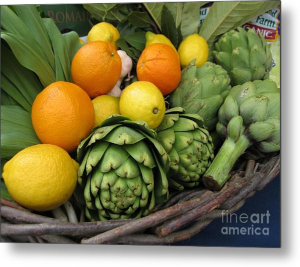 Artichokes Lemons And Oranges Metal Print