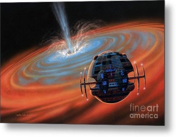 Artificial Planet Orbiting A Black Hole Metal Print