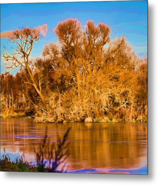 Artistic Big Tree Colored Coloured #orange By Sun On January 2 2015 Besides The Creek Of Enkoping Metal Print