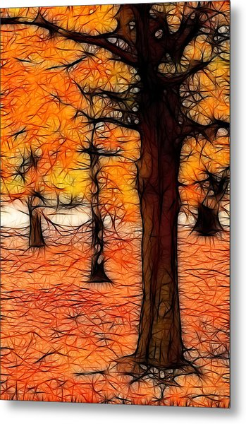 Artistic Fall Trees Metal Print