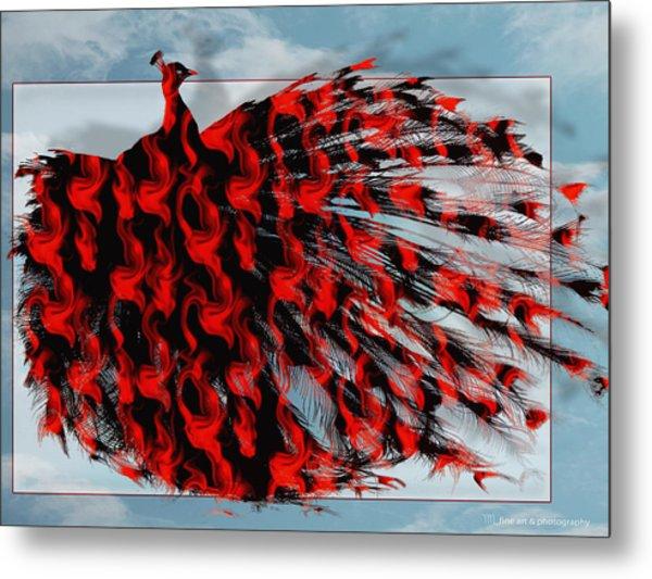 Artistic Red Peacock Metal Print