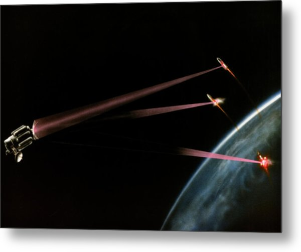 Artist's Impression Of Space-based Sdi Laser Metal Print by Us Department Of Energy / Science Photo Library