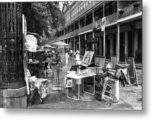 Artists In The Square Mono Metal Print by John Rizzuto