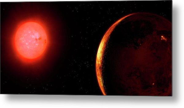 Artwork Of Red Dwarf And Orbiting Planet Metal Print by Mark Garlick
