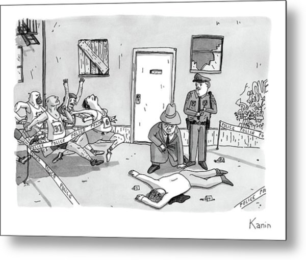 As Police And A Detective Examine A Murder Scene Metal Print