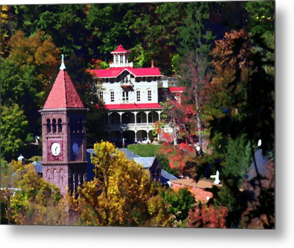 Asa Packer Mansion With Court House In Jim Thorpe Pa Metal Print by Jacqueline M Lewis