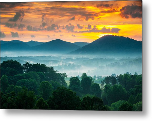 Asheville Nc Blue Ridge Mountains Sunset - Welcome To Asheville Metal Print
