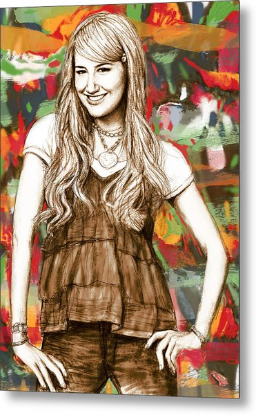 Ashley Tisdale - Stylised Drawing Art Poster Metal Print by Kim Wang