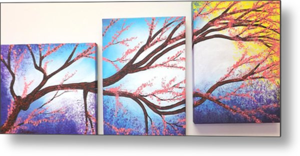 Asian Bloom Triptych Metal Print