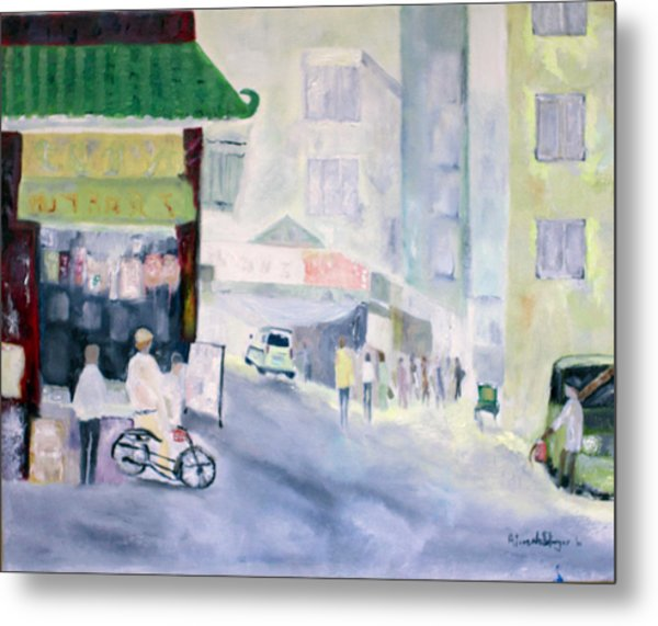 Asian Street Traffic Metal Print