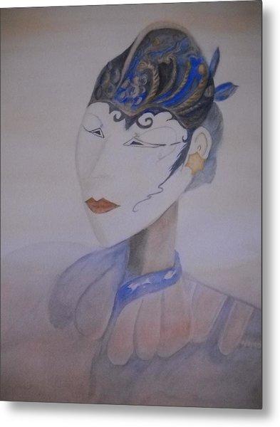 Asian Mask Metal Print by Marian Hebert