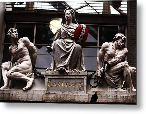 Asmterdam Statues Metal Print by John Rizzuto
