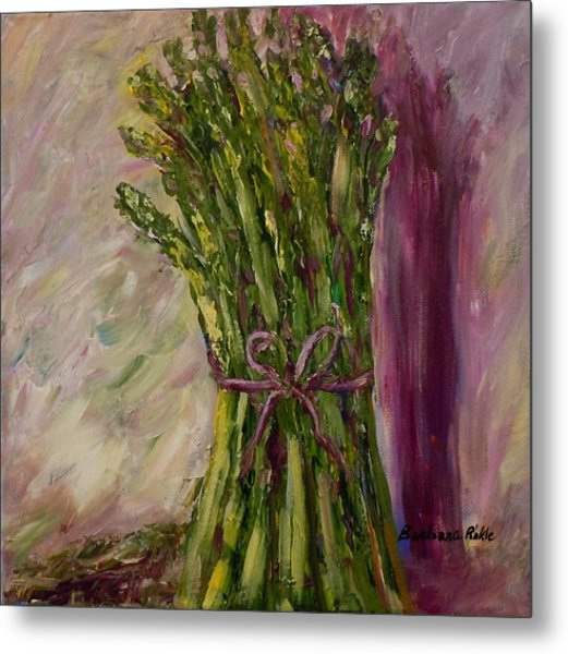 Asparagus Wrapped In A Bow Metal Print by Barbara Pirkle