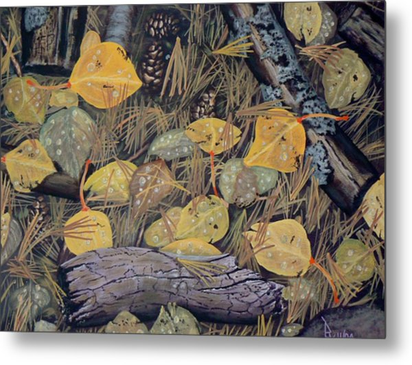 Aspen Leaves And Needles Metal Print