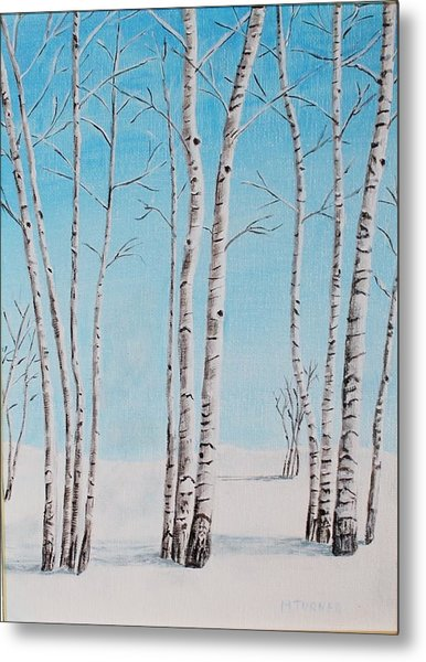 Aspens In Snow Metal Print