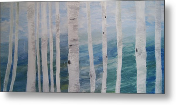 Aspens In Winter Metal Print by Jessie Nolan