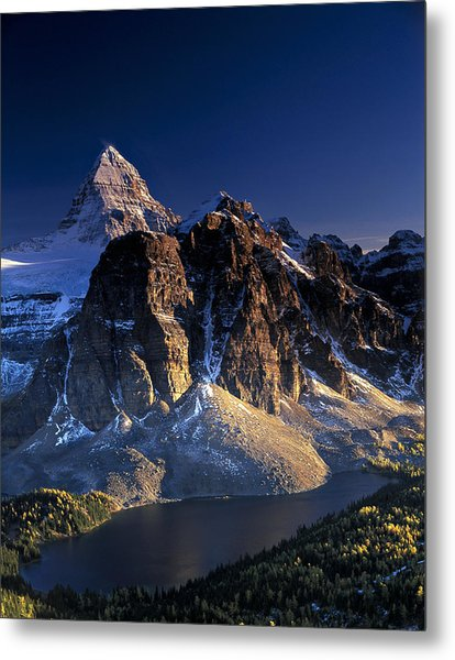 Assiniboine And Sunburst Peak At Sunset Metal Print