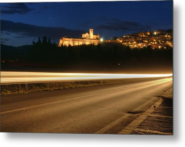 Assisi By Night Metal Print by Luca Roveda