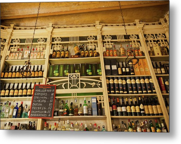 Assorted Alcohol At A Bar, El Metal Print