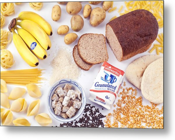 Assorted Foods Containing Carbohydrates Metal Print by Martyn F. Chillmaid