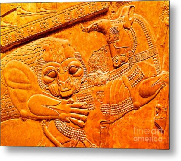 Assyrian Lion Metal Print