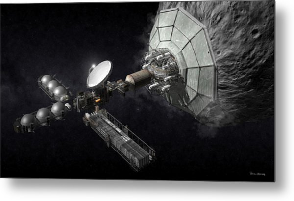 Metal Print featuring the digital art Asteroid Mining And Processing by Bryan Versteeg