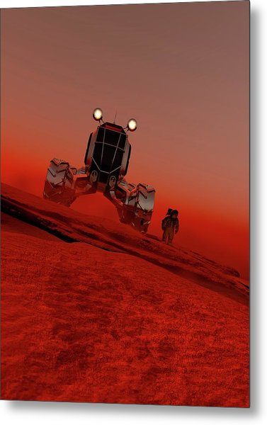 Astronaut And Vehicle On Mars Metal Print by Victor Habbick Visions