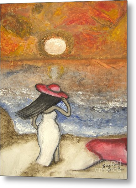 At The Beach Acrylic Abstract Art By Saribelle Metal Print