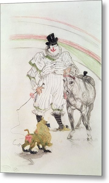At The Circus Performing Horse And Monkey, 1899 Chalk, Crayons And Graphite Metal Print