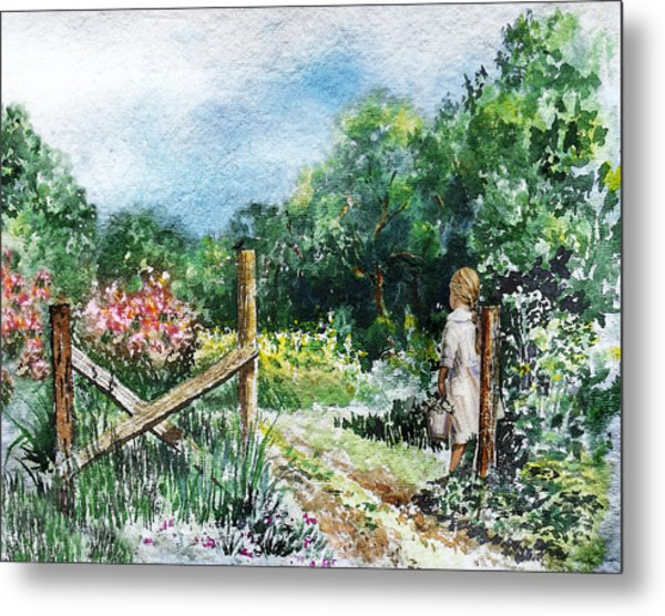 At The Gate Summer Landscape Metal Print