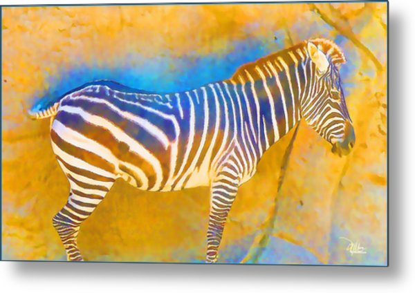 At The Zoo - Zebras Metal Print
