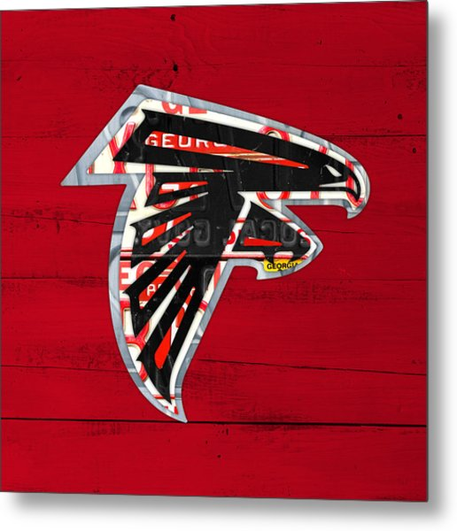 Atlanta Falcons Football Team Retro Logo Georgia License Plate Art Metal Print
