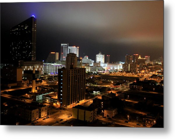 Atlantic City At Night Metal Print