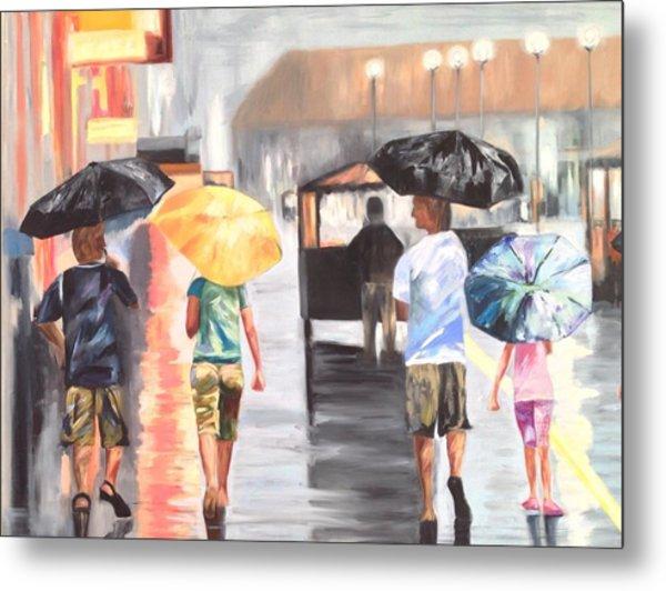 Atlantic City Boardwalk Rain Metal Print