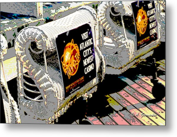Atlantic City Nostalgia Boardwalk Rolling Chairs Metal Print