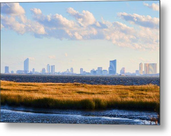 Atlantic City Skyline From Salt Marsh Metal Print