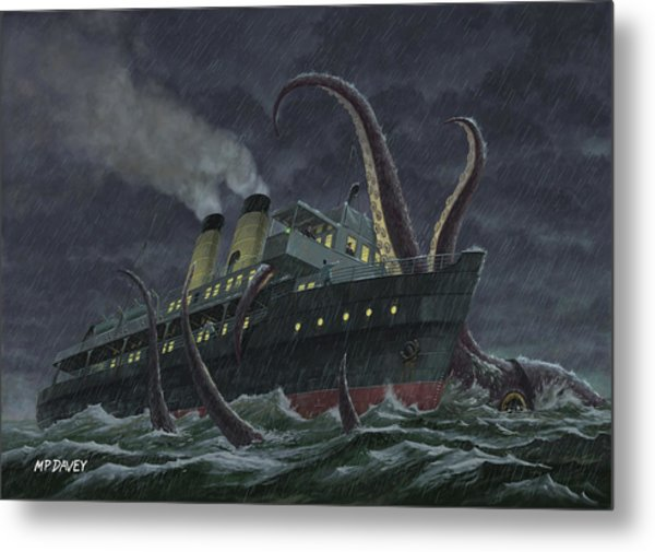 Attack Of Giant Squid Metal Print