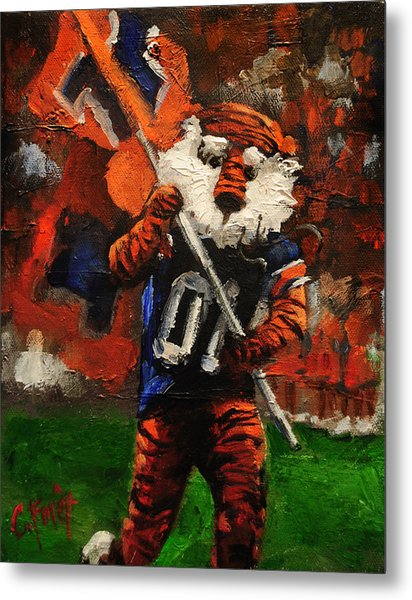 Aubie Running Flags Metal Print