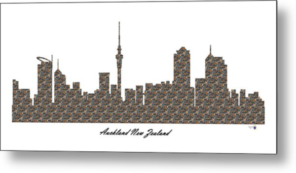 Auckland New Zealand 3d Stone Wall Skyline Metal Print