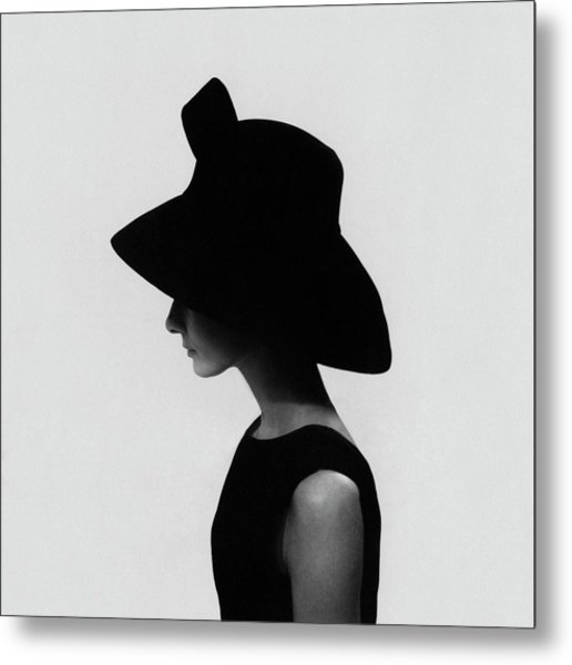 Audrey Hepburn Wearing A Givenchy Hat Metal Print by Cecil Beaton