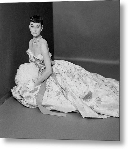 Audrey Hepburn Wearing An Adrian Dress Metal Print by Richard Rutledge