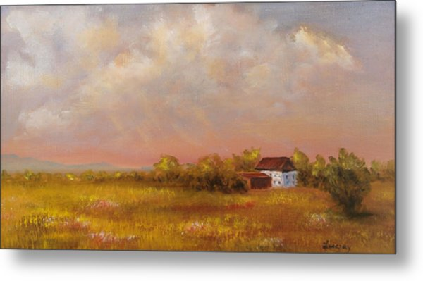 Metal Print featuring the painting August Afternoon Pa by Katalin Luczay