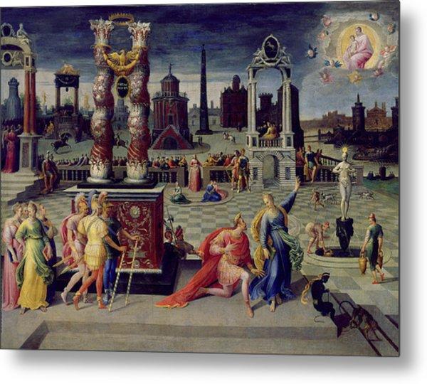 Augustus And The Tiburtine Sibyl Oil On Canvas Metal Print
