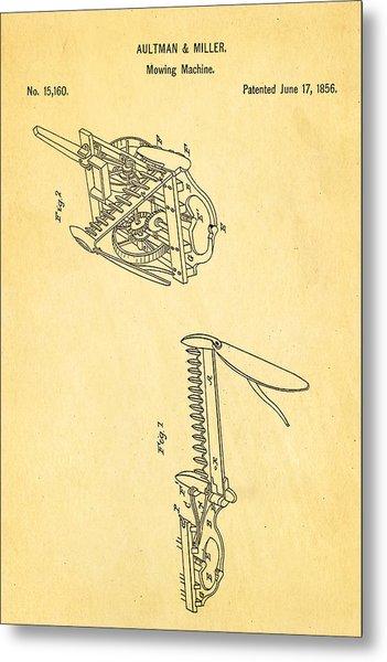 Aultman Mowing Machine Patent 1856 Metal Print