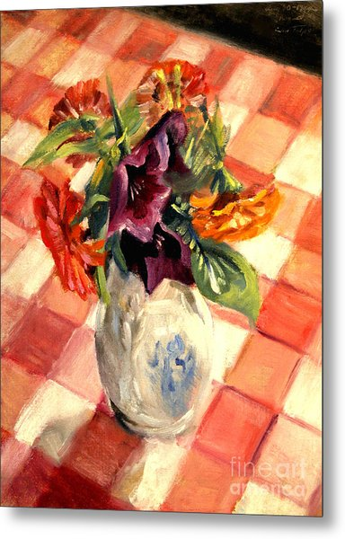 Aunt Alma's Flowers - 1944 Metal Print